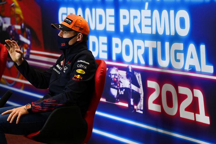 Max Verstappen bij de persconferentie voorafgaand aan de GP van Portugal.