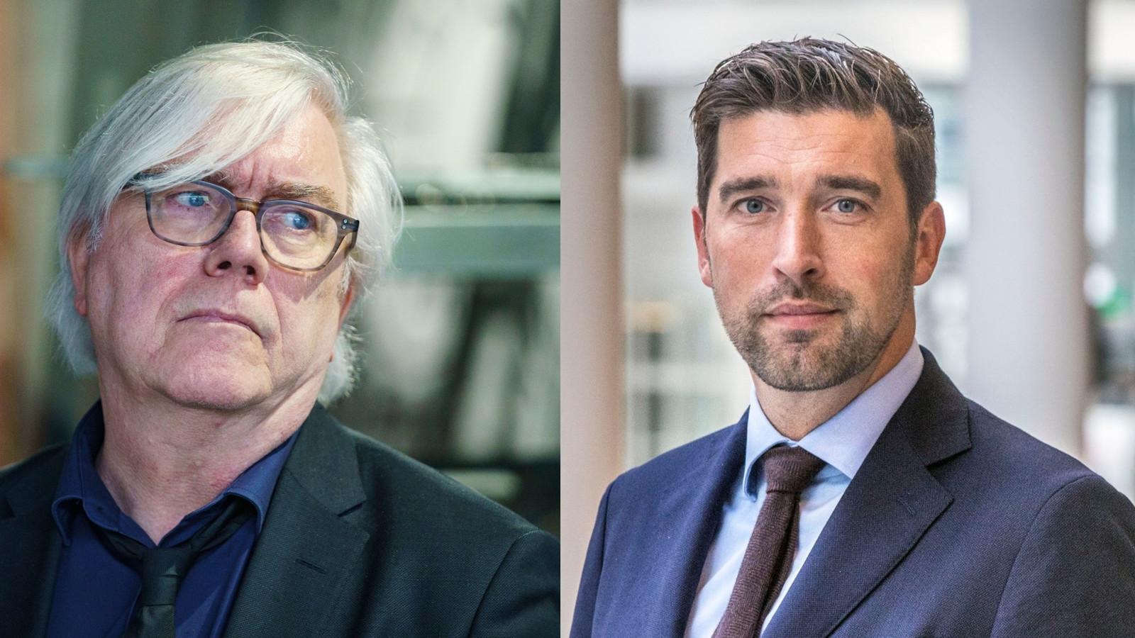 (l.) Bert van Alphen (GroenLinks), wethouder Sociale zaken en Werk en (r.) Robert van Asten (D66), wethouder Cultuur