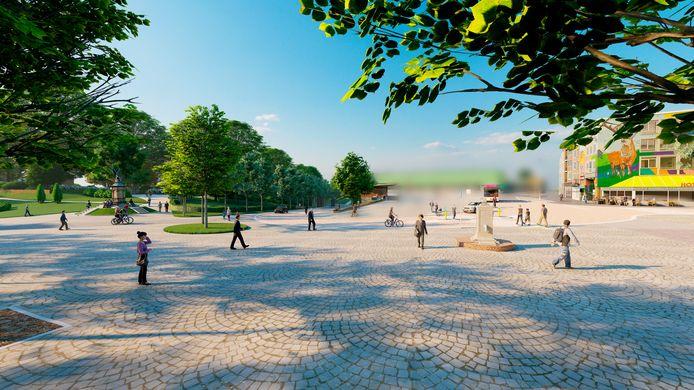 Nieuwe schets voor de Hoogstraat. Kelfkensbos is vaag gemaakt om te voorkomen dat verwarring ontstaat: dat deel van de openbare ruimte wordt later aangepakt.