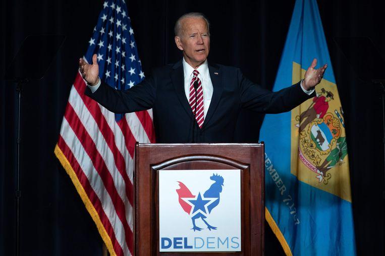 Joe Biden gaf gisteren een speech tijdens een Democratische bijeenkomst in zijn thuisstaat Delaware.