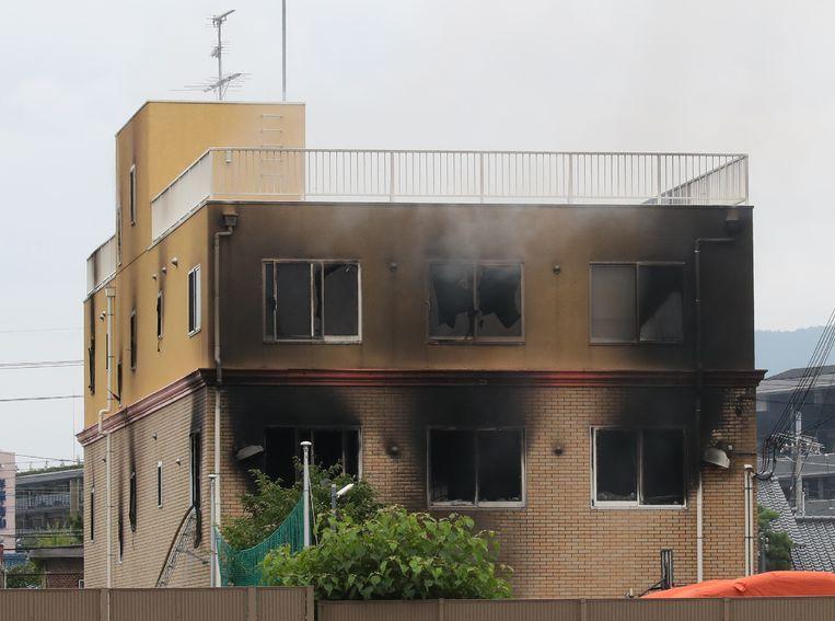 De brand in de Japanse filmstudio, gesticht met een nu nog onbekende vloeistof. Beeld AFP