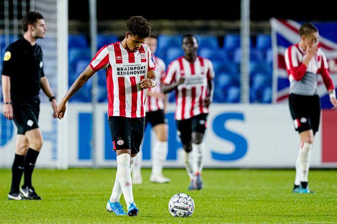 Cyril Ngonge wist niet te scoren voor Jong PSV