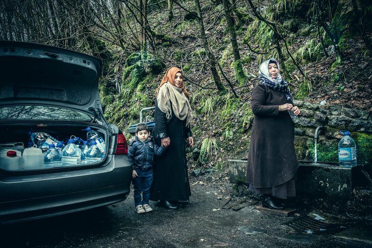 Sati Oktar en haar familie in Ninane.
