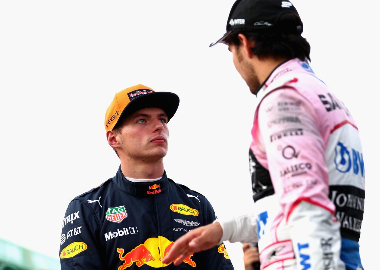 Max Verstappen en Sérgio Perez op archiefbeeld.