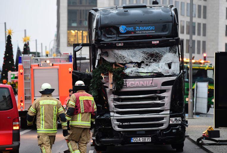 In Berlijn reed eind december een vrachtwagen in op een kerstmarkt. Beeld AFP