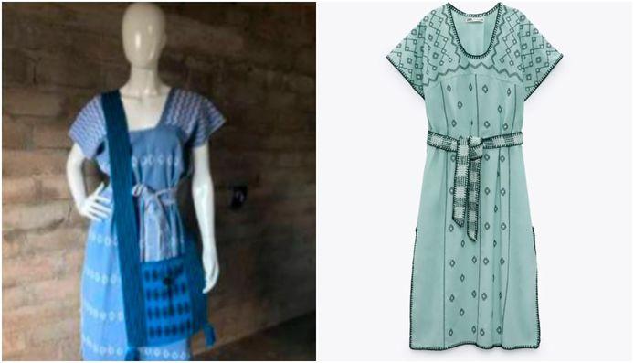 Het ministerie van Cultuur vergeleek de patronen van een Zara-jurk (rechts) met dat van een 'huipil'-jurk (links) die geproduceerd wordt door de Mixteken-bevolking van San Juan Colorado, Mexico.
