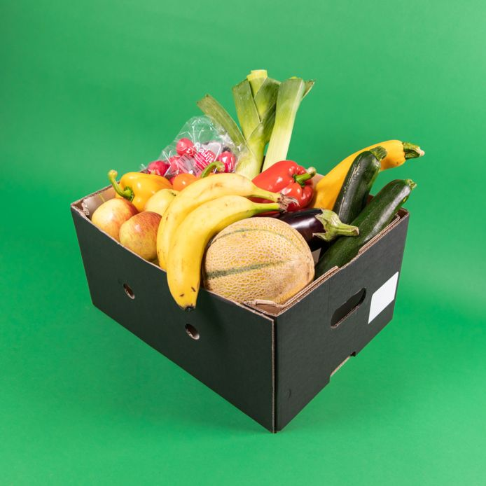 Voor 2,99 kunnen klanten een verrassingsbox met 2 kilo groente en fruit bestellen.