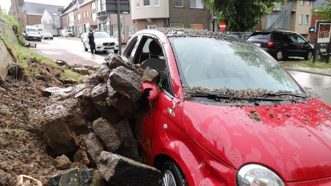 Grote schade aan wagen na omgevallen muurtje in Schepdaal