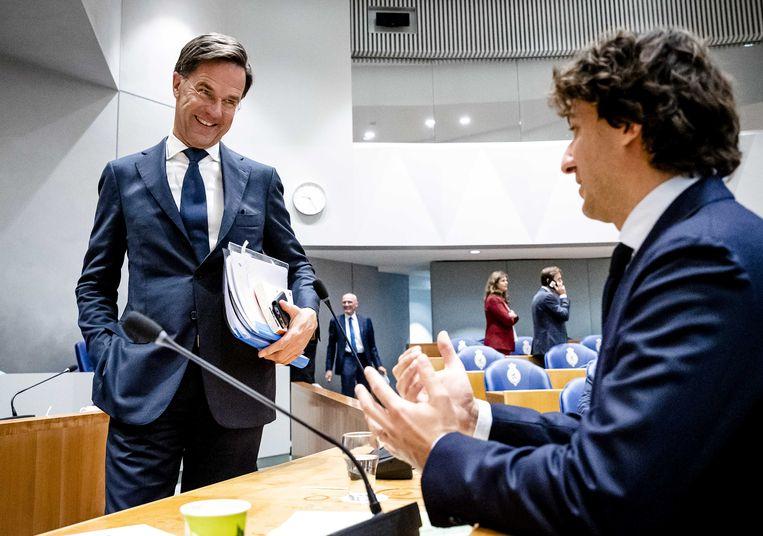 Demissionair premier Mark Rutte (links) en Jesse Klaver (GroenLinks) op de tweede dag van de Algemene Politieke Beschouwingen.  Beeld ANP