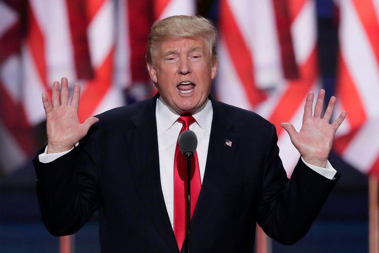 Donald Trump tijdens de Republican National Convention in juli vorig jaar. Beeld AP