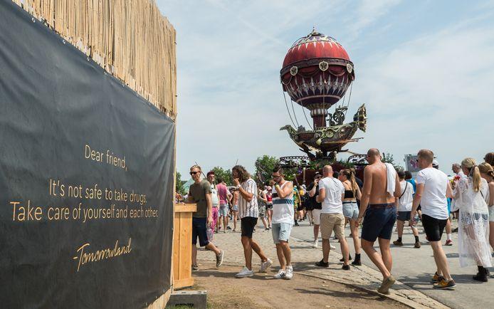 Een waarschuwing op het festival Tomorrowland in Boom.