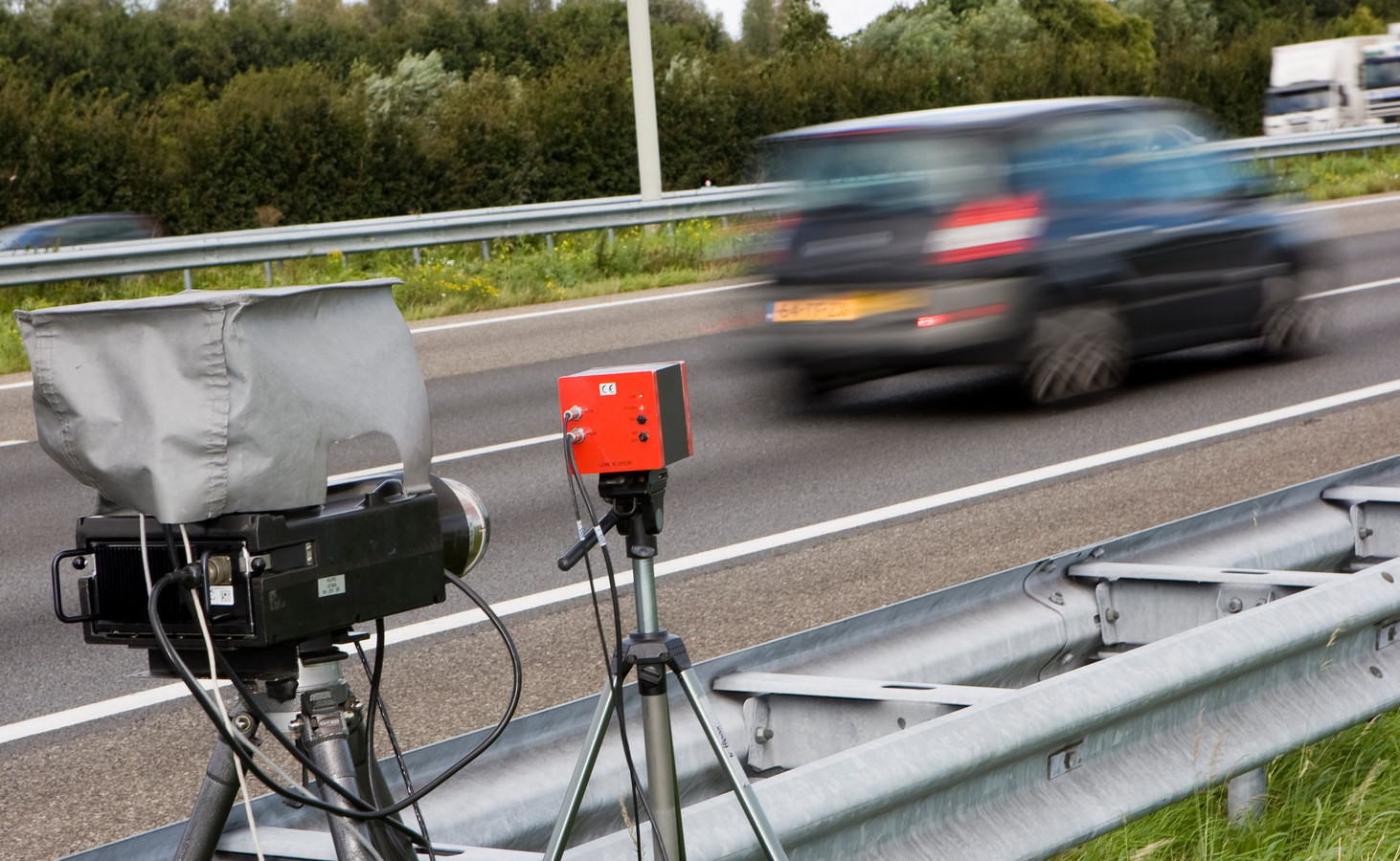 Snelheidscontrole op de A4 bij Leidschendam.