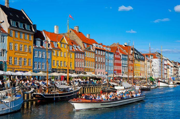 Het Nyhavn-district in Kopenhagen.
