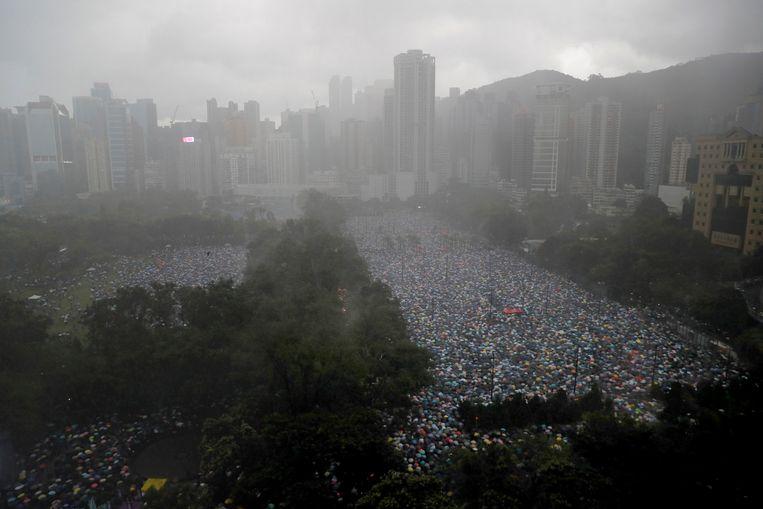 In en rond het Victoria Park kwamen honderdduizenden demonstranten bij elkaar.