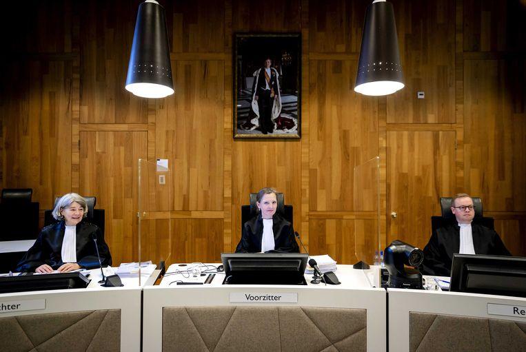 De rechters van de Haagse rechtbank, die Shell vorige week veroordeelden in een baanbrekend vonnis. Beeld ANP