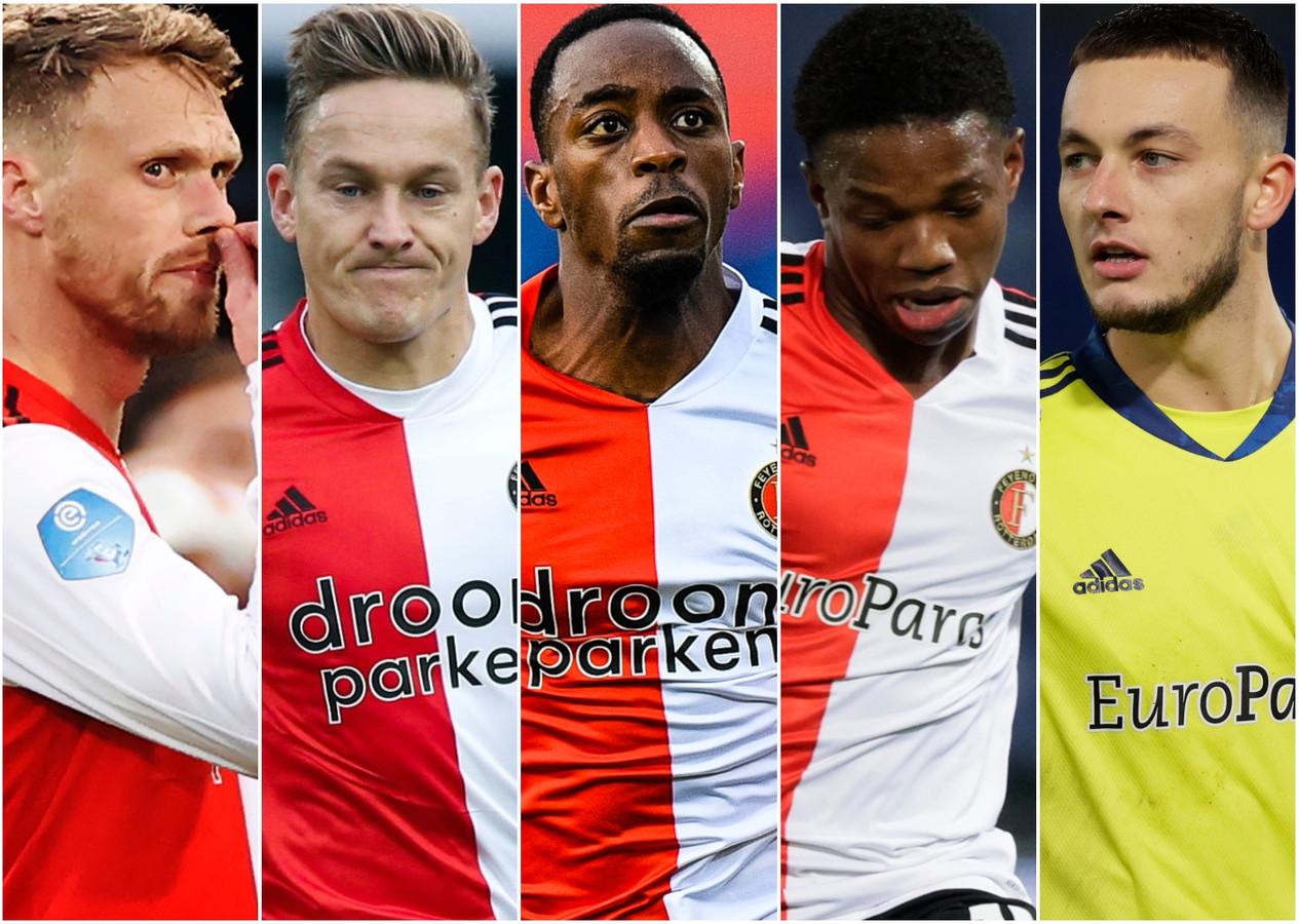 Feyenoord mist onder anderen Nicloai Jørgensen, Jens Toornstra, Ridgeciano Haps, Tyrell Malacia en Justin Bijlow (vlnr).