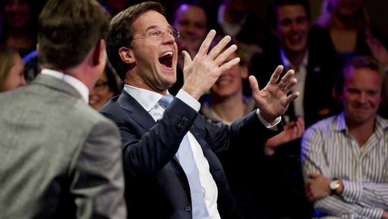 Rutte was in 2011 te gast in het programma College Tour, waar het idee ontstond. Omdat zijn kabinet kort daarna viel ging het diner toen niet door Beeld anp