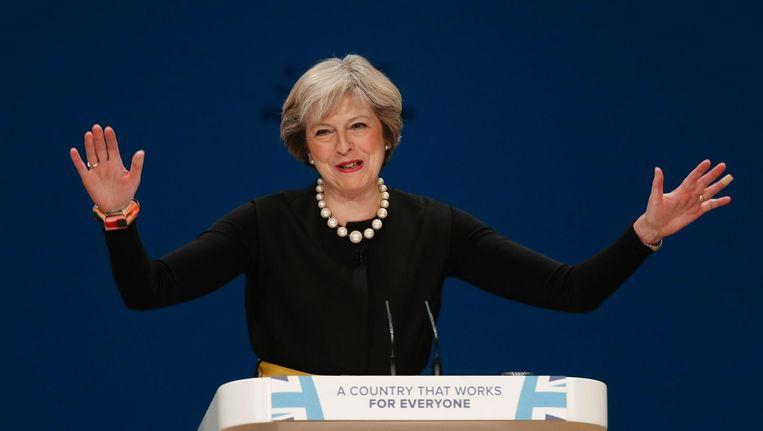 De Britse premier Theresa May op het conservatieve partijcongres in Birmingham. Beeld afp