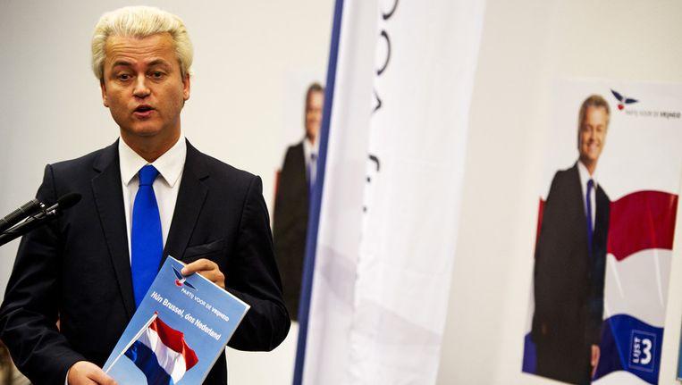 Geert Wilders presenteert het verkiezingsprogramma van de PVV met de titel 'Hun Brussel, ons Nederland'. Beeld ANP