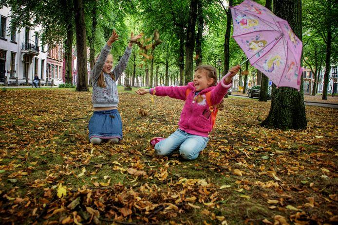 Plezier met herfstbladeren op het  Lange Voorhout in Den Haag.