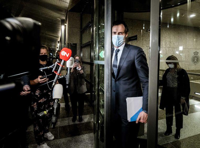 Wopke Hoekstra (CDA) na afloop van een overleg met zijn fractie in de Tweede Kamer tijdens een debat over de mislukte verkenning.  Beeld ANP