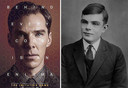 Links: Benedict Cumberbatch gaf in 'The Imitation Game' gestalte aan Alan Turing. Rechts: de echte Alan Turing