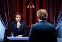 Jesse Klaver (Groenlinks) en Pieter Omtzigt (CDA) tijdens het eerste lijsttrekkersdebat voor de Tweede Kamerverkiezingen.