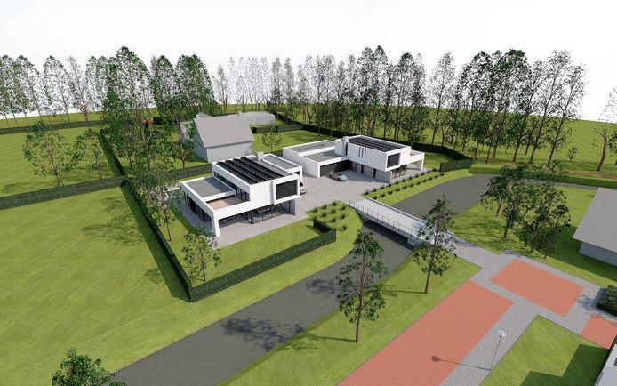 Impressie van de twee nieuwe woningen op het perceel aan de Akkerlaan.