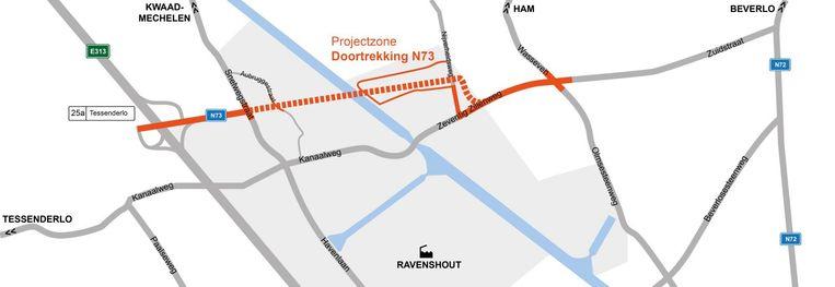 Het project omvatte de doortrekking van de N73 vanaf het op- en afrittencomplex 25A op de E313 (gemeente Tessenderlo) tot aan Wasseven / Olmsesteenweg (gemeente Ham). Het kruispunt met de Snelwegstraat werd heringericht tot een volwaardig vierarmenkruispunt met verkeerslichten.