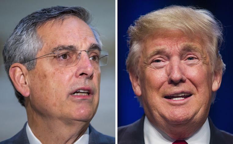 Brad Raffensperger, minister in de deelstaatregering van Georgia, kreeg een boze Donald Trump aan de lijn. Beiden zijn Republikeinen. Beeld EPA