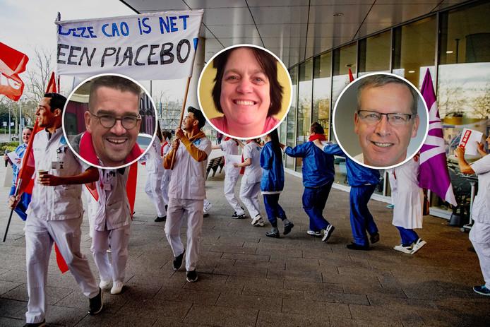Erik Lindeboom, Ria van Beek, Pieter Bergsma (vlnr) doen mee aan de ziekenhuisstaking