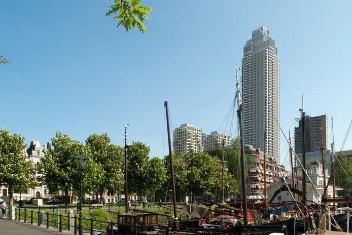 Een impressie van de Zalmhaventoren vanuit de Veerhaven.