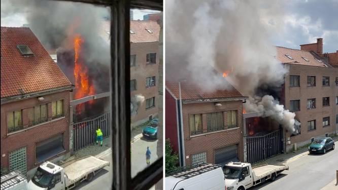 Opnieuw hevige brand op leegstaande Stillemans-site, Fluvius redt kraker met ladder uit gebouw