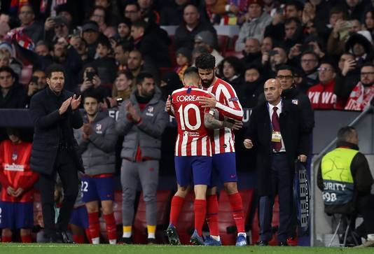 Diego Costa viel in bij Atlético Madrid.