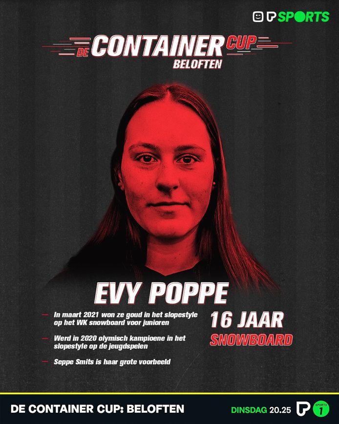 Evy Poppe is vanavond te zien in de Container Cup Beloften