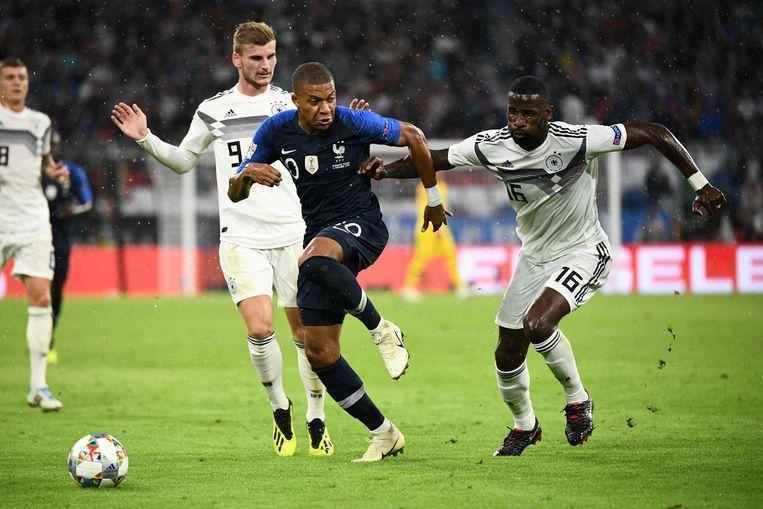 De Fransman Mbappé kon niet scoren tegen Duitsland. Hun match in de Nations League eindigde op 0-0. Beeld AFP
