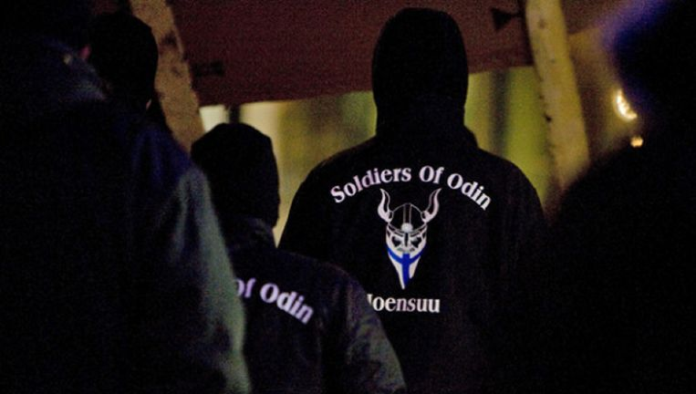 De Soldiers of Odin, een extreemrechtse burgerwacht die vorig jaar in Nederland opdook. Beeld Archieffoto