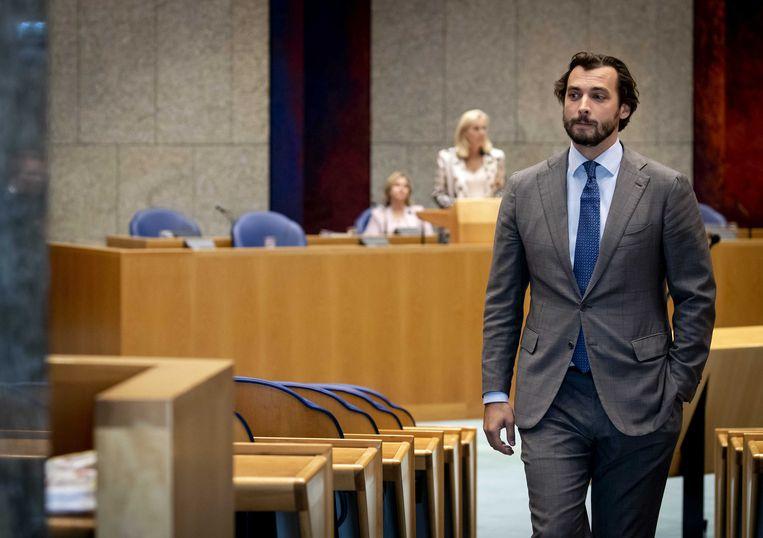 Forum voor Democratie-voorman Thierry Baudet en minister Sigrid Kaag tijdens het Vragenuur in de Tweede Kamer.  Beeld ANP/Koen van Weel