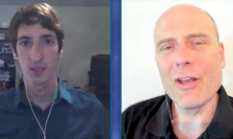 Ex-Google-medewerker James Damore (l) in gesprek met YouTube-persoonlijkheid Stefan Molyneux. Beeld rv