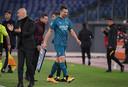 Zlatan Ibrahimovic verliet gisteren tegen AS Roma na 56 minuten het veld wegens de blessure.