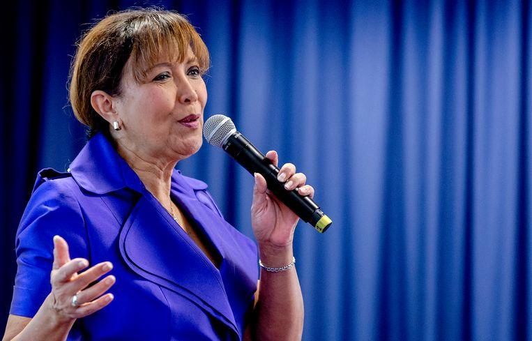Een optreden van Sandra Reemer in 2015 tijdens de aftrap van de verkiezingscampagne van ouderenpartij 50Plus. Beeld ANP