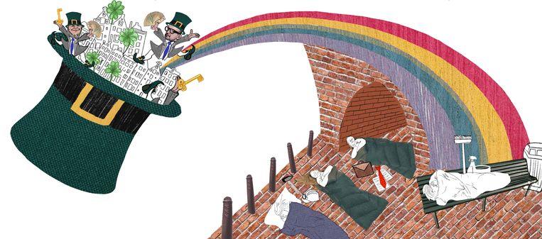 Regenbooggroep doet oproep aan vastgoedbeheerders Amsterdam voor dak bieden aan werkende daklozen. Beeld Rosa Snijders