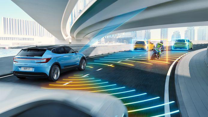 Auto's uitgerust met chips en sensoren van NXP brengen het verkeer rondom in beeld.