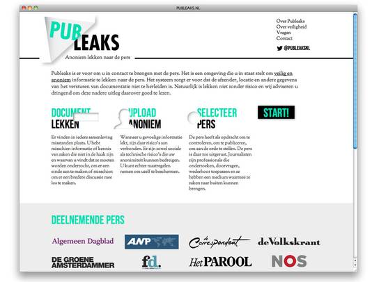 De homepagina van Publeaks.