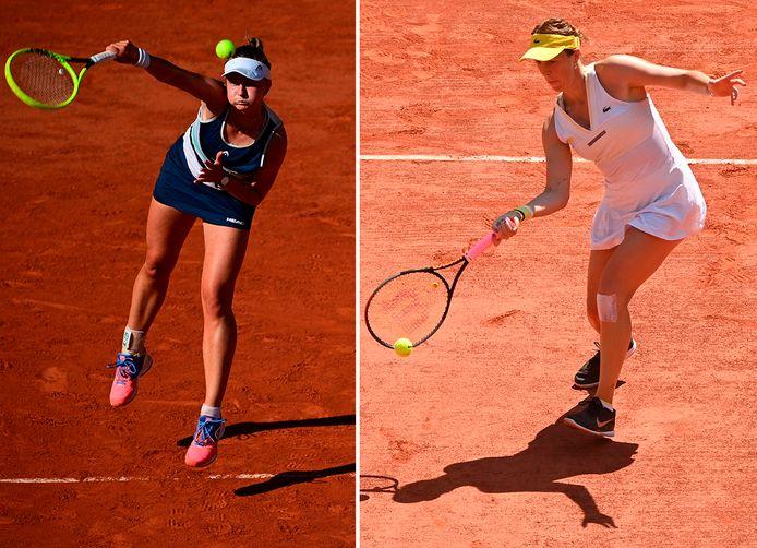Anastasia Pavljoetsjenkova en Barbora Krejcikova (links), die zaterdag debuteren in de finale van een Grand Slam-toernooi.