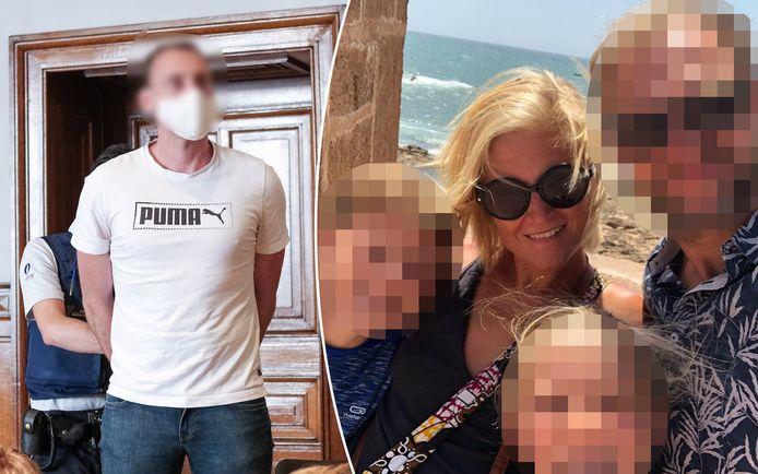 Beschuldigde Xavier Van Dam in de rechtbank. Rechts slachtoffer Wivinne Marion en haar gezin.
