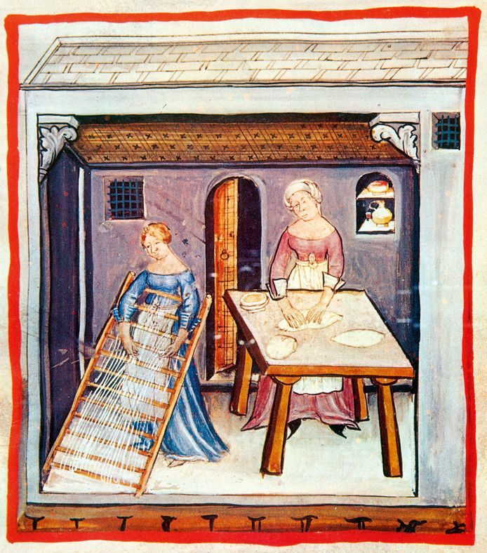 Vrouwen maken pasta, uit de Tacuinum Sanitatis, 14de eeuw.