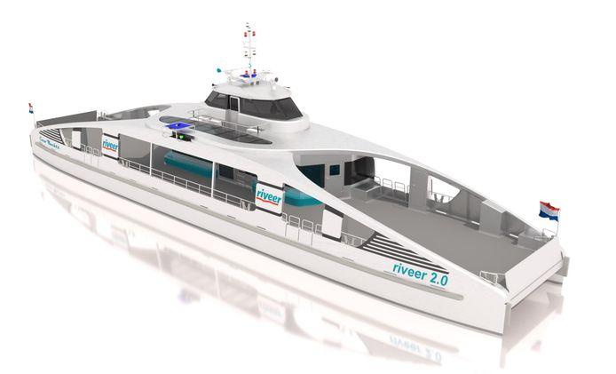 Het ontwerp voor de nieuwe elektrische veerboot van Riveer Gorinchem.