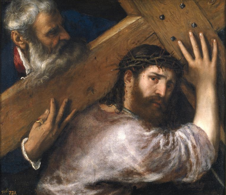 Christus draagt het kruis, rond 1565 geschilderd door Titiaan Beeld Publiek Domein