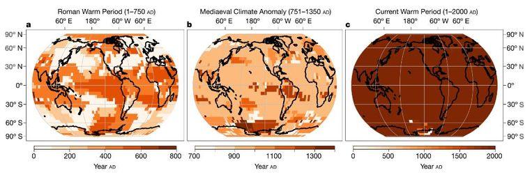 De Romeinse, middeleeuwse en huidige warmte en hun verdeling over de aardbol. Beeld Nature